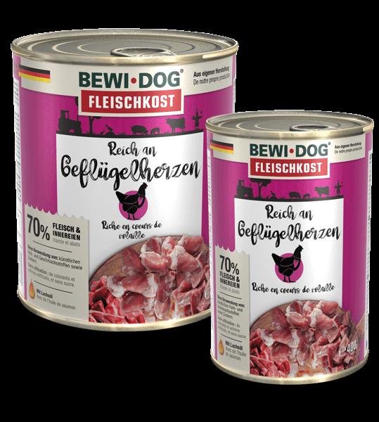 BEWI DOG fleischkost Reich an Geflügelherzen